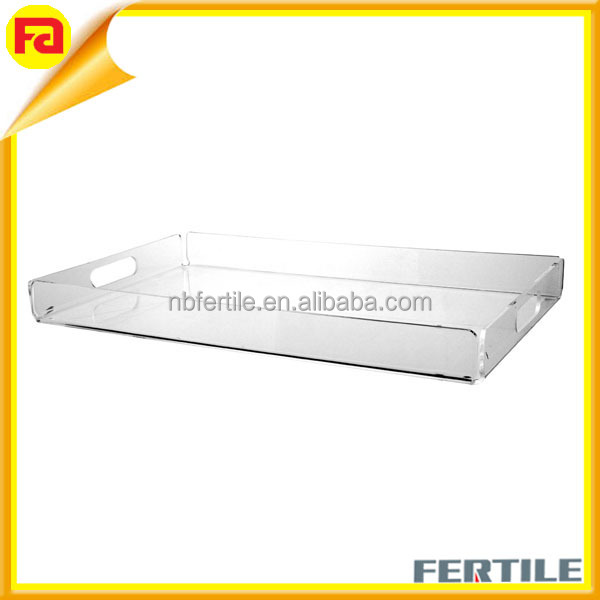 Clear Acrylic 20 x 12 Serving Tray with Handles,wholesale high quality rectangle acrylic tray