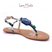 New style fashionable animal grain leather flat beach sandals for girls made in China