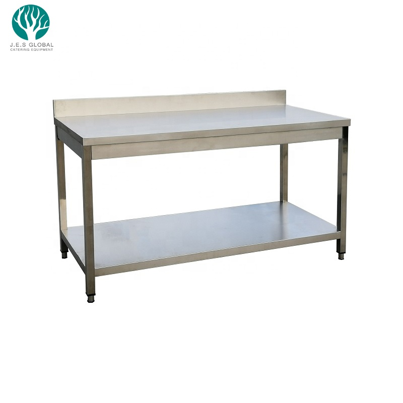 Factory outlets mesa de acero inoxidable Stainless Steel Working Table with Bench Commercial Stainless Steel 2-layer Work Table