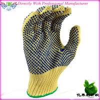 quality 100% aramid cut resistant glove with PVC dots on both sides,flame resistant &cut resistant work glove,cut level 5 glove