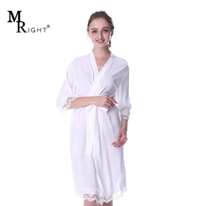 Kimono robes Women Sleepwear bride and bridesmaid cotton robes for wedding Gift with lace trim
