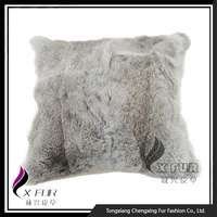 CX-D-05 45X45CM Natural Color Home Soft Rabbit Fur Sofa Cushion Cover