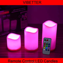 3Pcs Led Candle Color Changing with Remote Control, multi color led candle