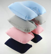 Blue Color as EU standard inflatable travel pillow with pouch