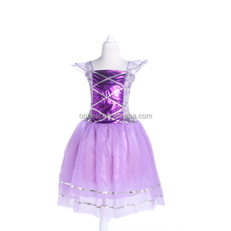 Purple Sofia costume with sexy dew shoulder by Onbest for little girl