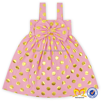 New Pattern Polka Dots Baby Girl Summer Dress Pink Frock Design For Baby Girl Dress With Big Bow