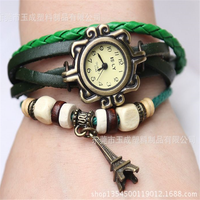 2015 latest design for ladies genuine leather tower watch vintage bracelet Quartz watch