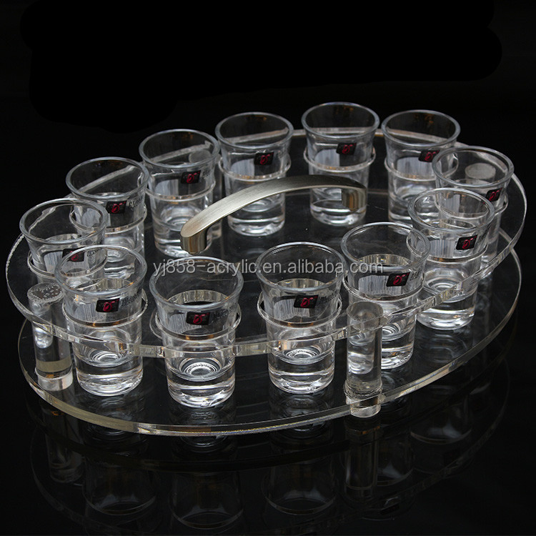 Chic round detachable acrylic shot glass holder tray dispaly stand with handle
