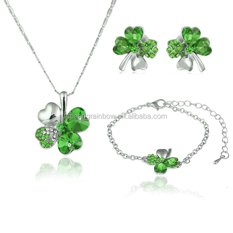 Fashion crystal four leaf clover jewelry set necklace earring and bracelet wedding jewelry