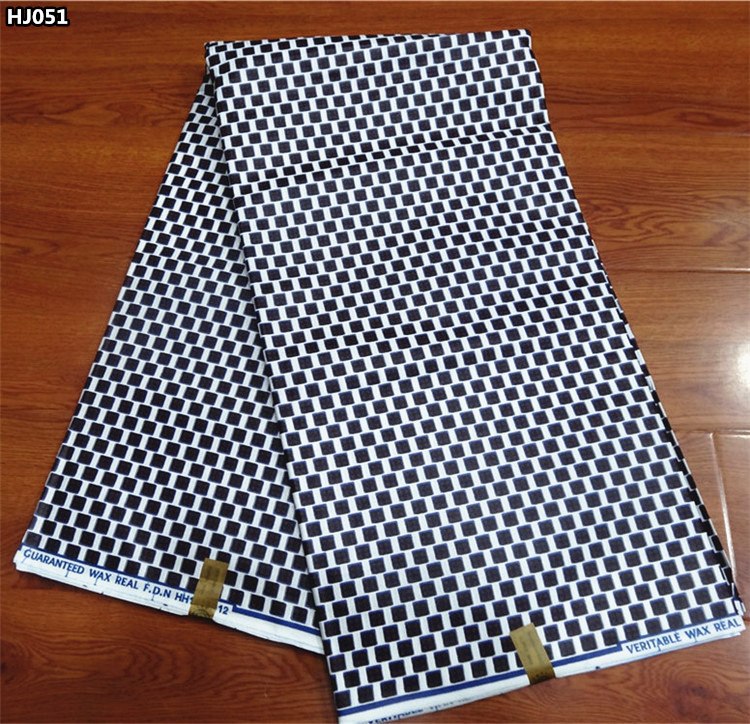 Black and white african wax prints fabric 6 yards ankara print for dresses HJ051