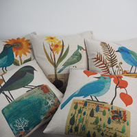 Wholesale decorative lounge chair cushions custom bird print plain king size pillows