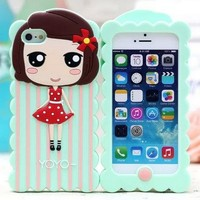 For iphone 5 new design cute girls silicone Rubber case phone cover