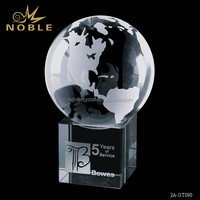 Hot Selling Crystal Globe on Cube Anniversary Award Trophy With Custom Logo