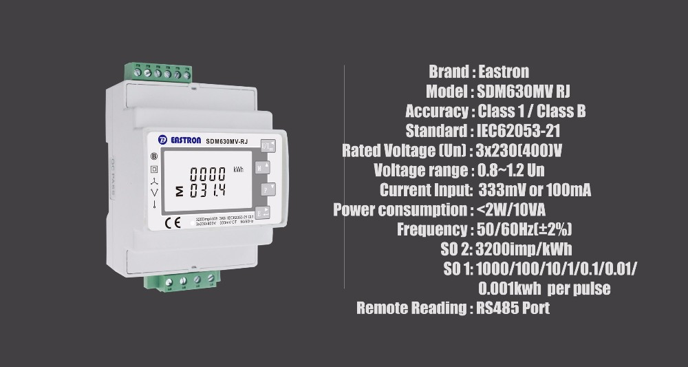 Sdm630mct Rj 3 Phase Multi Function Meter Wth Rj45 Ct