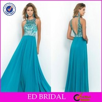 2015 New Fashion Designers Halter Sequins Beaded Sexy Low Back Prom Dresses
