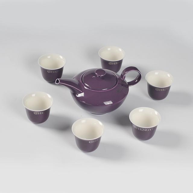 15.5 OZ PURPLE COLOR GLAZED CERAMIC TEA SET