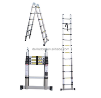 2x8 steps 5m aluminum folding extension en131 european standard telescopic ladder