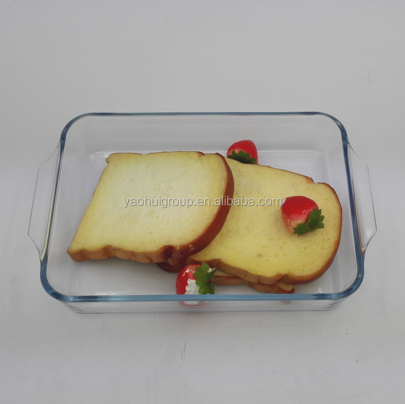 2 L rectangular borosilicate glass ovenware for baking with handle