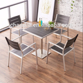 Outdoor furniture balcony/garden/patio set,brushed aluminum frame with plastic wood table and chair set