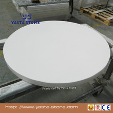 Round Solid Pure White Quartz Stone Table Tops Coffee Tops Night Tops