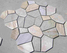 Natural multi color slate flagstone pattern walkway stone