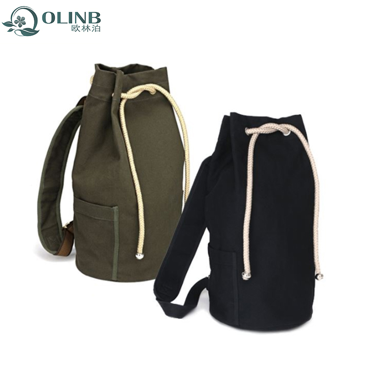 High Quality Shopping Promotion Drawstring Canvas Backpack School Bag Back Pack For Men