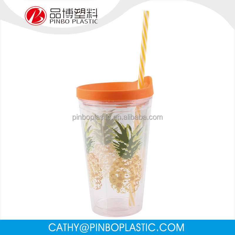Factory Directly Provide As Material Plastic Cup With Straw And Lid