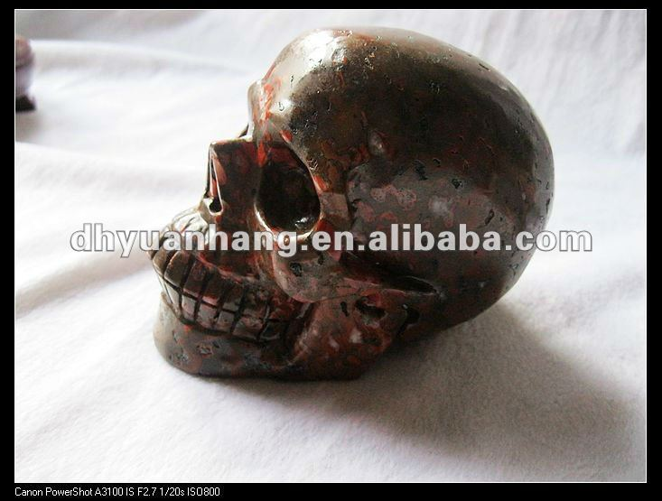 3.08lb Huge Bloodstone Carved Crystal Skull, Crystal Healing
