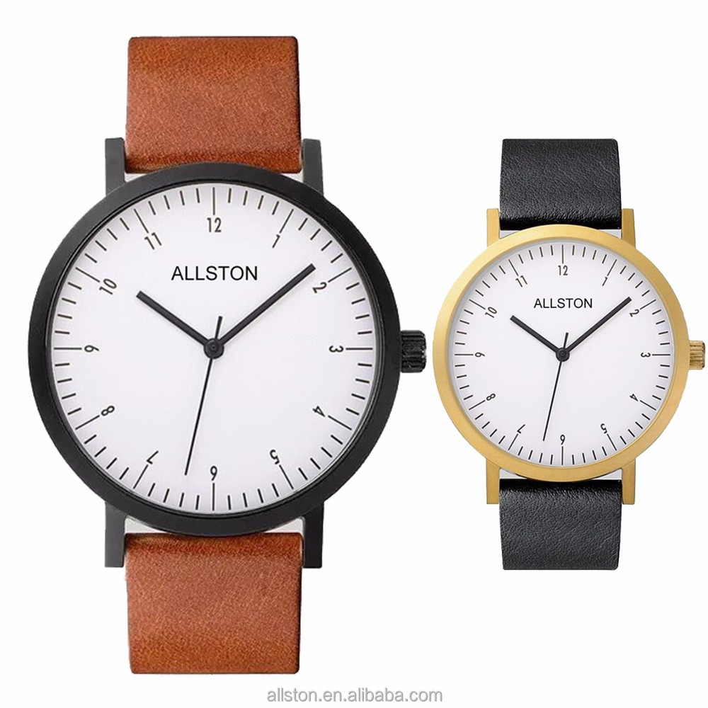 Men Woman Brand Japan Movt Quartz Stainless Steel Back Lady 3atm Waterproof Arabic Number Genuine Leather Wrist Watch