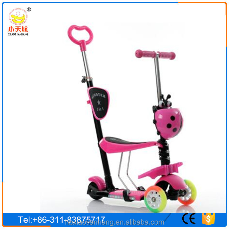 2016 New Design Height adjustable 3 in 1 ride on kids kick scooter