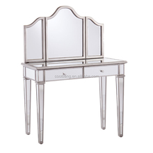 2016 antique bedroom furniture dressing table with mirrors and drawers
