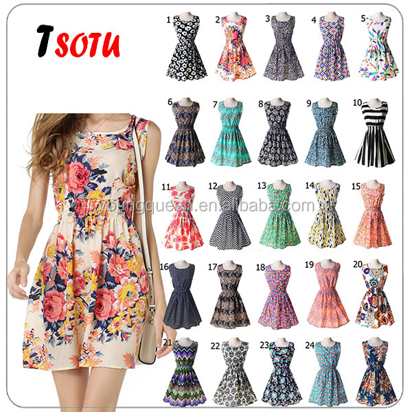 WH06-2 Summer sleeveless vest <strong>dress</strong> floral chiffon <strong>dress</strong>