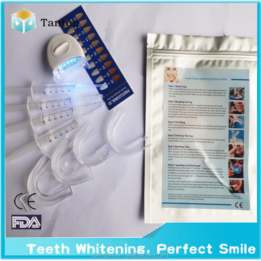 CE apprved 5pcs white LED light teeth whitening kit tooth cleaning kits with 4pcs whitener