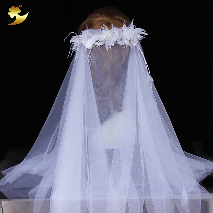 White Apparel Accessory Fancy Dress Decoration veil wedding bridal long
