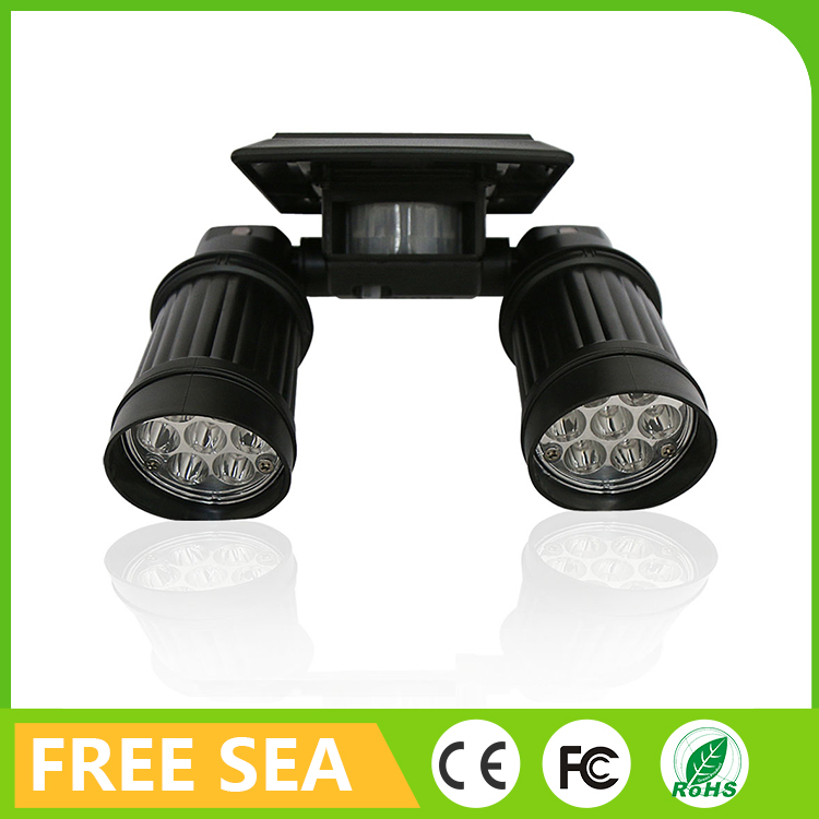 Outdoor 14LED Solar Power Dual Head Security Rotatable Waterproof Wall Light