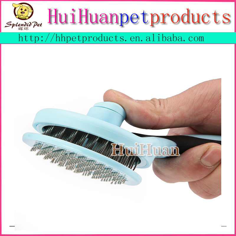 Auto-Cleaning Plastic Pet Dog Cat Hair Push Brush Self Cleaning Grooming Brush