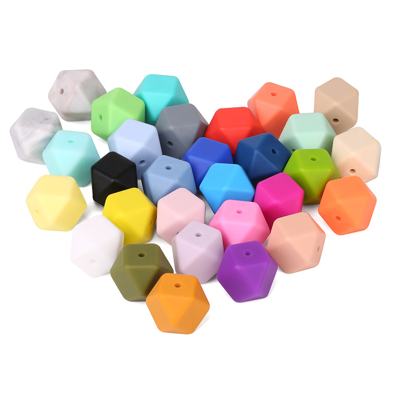 10 silicone beads MANGO ORANGE 14mm mini hexagon BPA free teething jewellery
