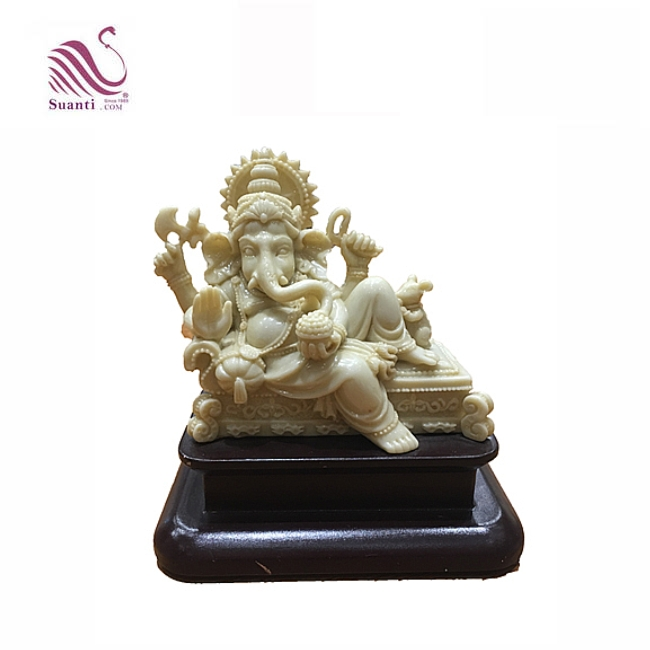Resin Ivory Color Indian God Ganesh Statue with Wooden Base