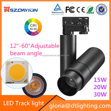 NEW Products Adjustable beam angle Led Rail Lighting white & black led track lighting 30w