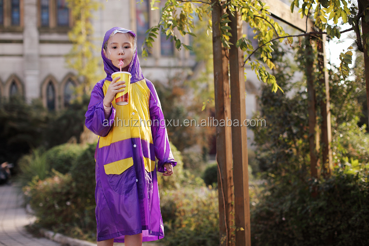 children pu rainsuit waterproof pu raincoat branded kids clothing factory