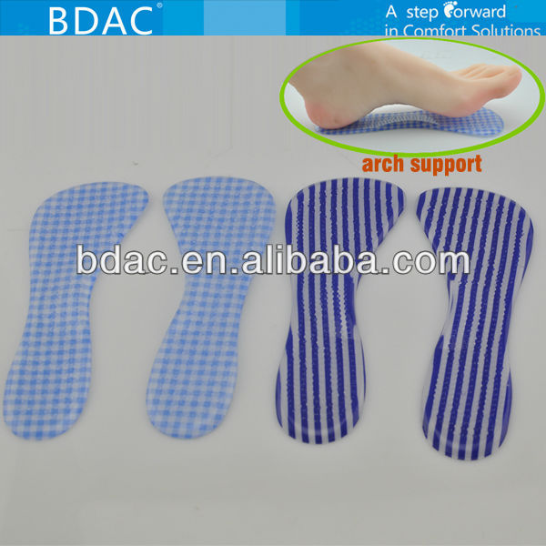 adhesive pu gel foot arch pad insole 3/4 gel shoe pad