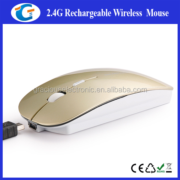2.4G slim wireless mouse with rechargeable lithium battery