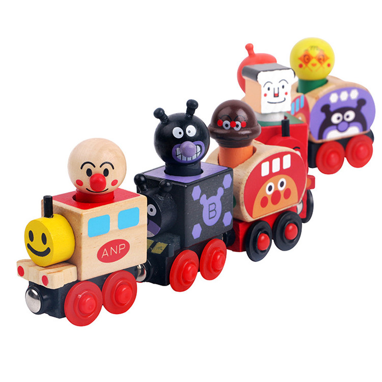 FQ brand high quality educational DIY magnetic kids wooden train toys