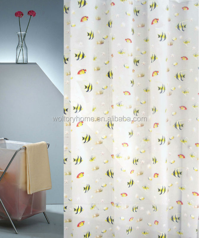 Good quality Hotel PEVA Plastic transparent clear bathroom Shower curtain