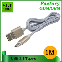 SLT Durable Gold Plated Case Nylon Braided USB 2.0 to USB 3.1 Type C Cable