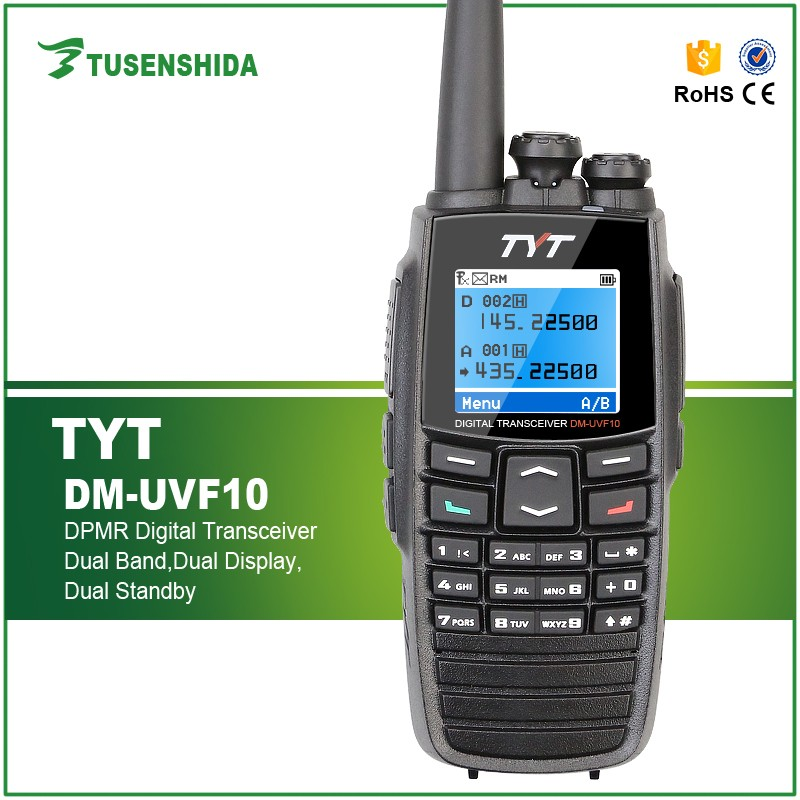Dual band handled woki toki tour guide system DTMF GPS tyt dm-uvf10 two way radio DPMR Digital Transceiver