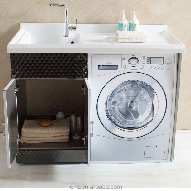 New arrival stainless steel bathroom vanity cabinet with for Kitchen cabinet washing machine