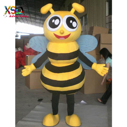 funny carton yellow bee with wings mascot costume