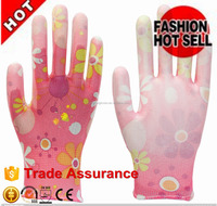 13G POLYESTER flower liner PU coated for garden working glove