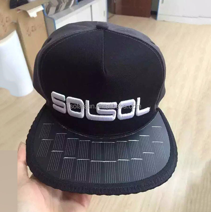 hot sale nylon solar cap for phone charging, solar sprot hat